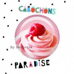 20mm VERRE, 2 Cabochons  en verre 20mm Ref 10364Gourmande,cupcake,pois,gâteaux,blanc,rose,rétro,fashion,vintage,retro,1€,cabochon verre 20mm,collection cabochons paradise