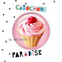 20mm VERRE, 2 Cabochons  en verre 20mm Ref 10365Gourmande,cupcake,pois,gâteaux,blanc,rose,rétro,fashion,vintage,retro,1€,cabochon verre 20mm,collection cabochons paradise
