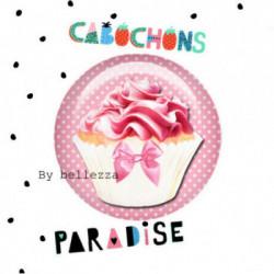 25mm VERRE, 1 Cabochons  en verre 25mm  Ref 10366Gourmande,cupcake,pois,gâteaux,blanc,rose,rétro,fashion,vintage,retro,1€,cabochon verre 25mm,collection cabochons paradise