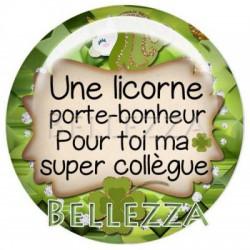 Cabochon verre 30mm, x 1, licorne, porte bonheur, saint patrick, trefle, vert et dore