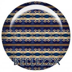 Cabochon resine 25mm, x 1, geometrique fashion, bleu et moutarde