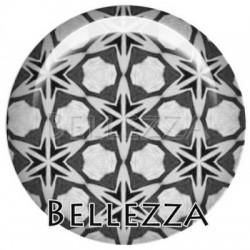 Cabochon resine 25mm, x 1, geometrique fashion, gris et noir