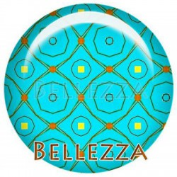 Cabochon verre 25mm, x 1, geometrique fashion, turquoise, orange, jaune