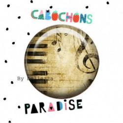 18mm VERRE, 2 Cabochons  en verre 18mm  Ref 10224Musique,partition,piano,grunge,vintage,retro,1€,cabochon verre 18mm,collection cabochons paradise