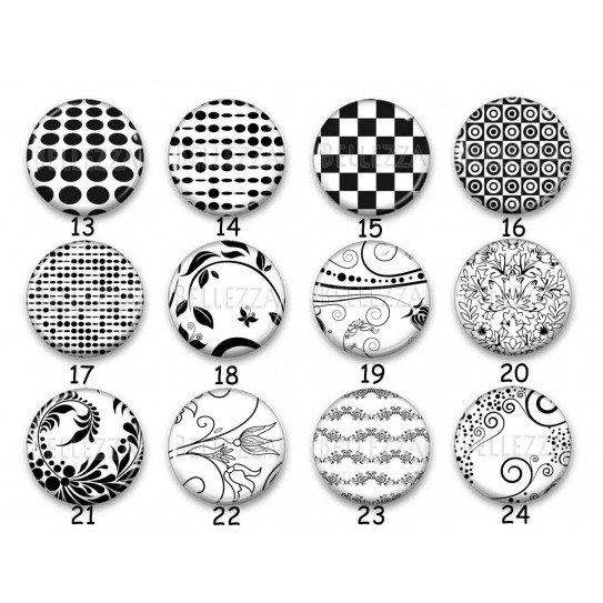 Cabochon par collection, noir et blanc Baroque