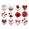 Cabochon par collection, fleurs coeur, love, amour, 28519