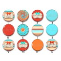 Cabochon par collection, orange turquoise, rétro, glamour, 28524