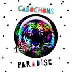 18mm VERRE, 2 Cabochons  en verre 18mm  Ref 1546Tigre,fun,multicolore,vintage,retro,1€,cabochon verre 18mm,collection cabochons paradise