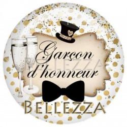 Cabochon resine 25mm, x 1, mariage, felicitations, or et noir