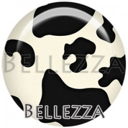 Cabochon verre, cabochon resine, vache, couleur noir et blanc