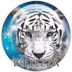 Cabochon verre, cabochon resine, tigre blanc, couleur blanc et bleu