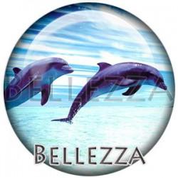 Cabochon verre, cabochon resine, dauphin, couleur bleu