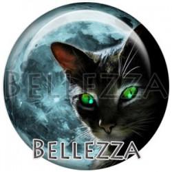Cabochon verre, cabochon resine, chat, silhouette, couleur noir et Vert