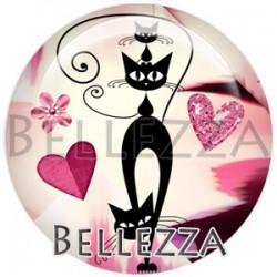 Cabochon verre, cabochon resine, chat, silhouette, couleur rose