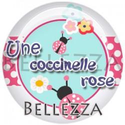 Cabochon verre, cabochon resine, coccinelle, couleur rose