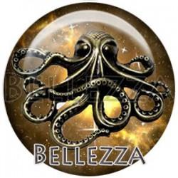 Cabochon verre, cabochon resine, octopus, pieuvre, poulpe, couleur marron