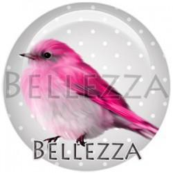 Cabochon verre, cabochon resine, oiseaux, couleur rose