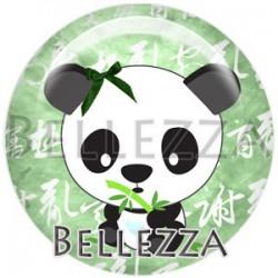Cabochon verre, cabochon resine, panda, couleur Vert