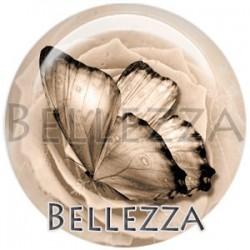 Cabochon verre, cabochon resine, papillons, couleur beige