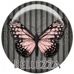Cabochon verre, cabochon resine, papillons, couleur rose