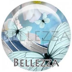 Cabochon verre, cabochon resine, papillons, couleur bleu
