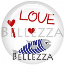 Cabochon verre, cabochon resine, sardine, marin, poisson, couleur blanc et bleu marine