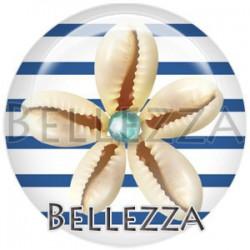 Cabochon verre, cabochon resine, coquillage, mer, plage, soleil