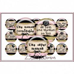 REF A22 Images digitales 25,20,18mm Maman  rose gold Parure complète rondes écritures,textes,messages ,images pour cabochons