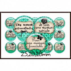 REF A21 Images digitales 25,20,18mm Maman  Parure complète rondes écritures,textes,messages ,images pour cabochons