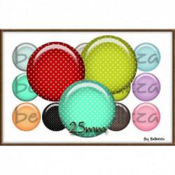 REF A5 Images digitales 25,20,18mm petits pois,colors,palette,nuancier,multicolore,pois Parure complète rondes écritures,textes,messages ,images pour cabochons