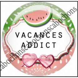 1 CABOCHON  résine Cabochons Rond 25mm  Ref 11976 Addict,Vacances,pastèque,été,mer,marin,nautique,cadeau, porte clés