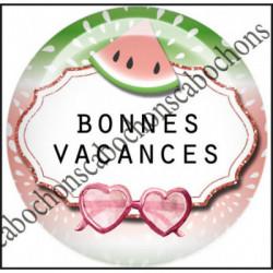 1 CABOCHON  résine Cabochons Rond 25mm  Ref 11975 Bonnes vacances,Vacances,pastèque,été,mer,marin,nautique,cadeau, porte clés