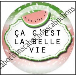 1 CABOCHON  résine Cabochons Rond 25mm  Ref 11974 La belle vie,Vacances,pastèque,été,mer,marin,nautique,cadeau, porte clés