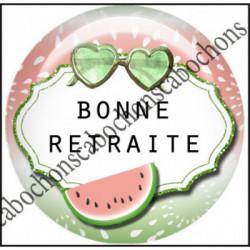 1 CABOCHON  résine Cabochons Rond 25mm  Ref 11968 Retraite,Vacances,pastèque,été,mer,marin,nautique,cadeau, porte clés
