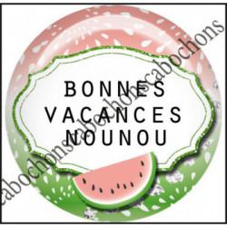 1 CABOCHON  résine Cabochons Rond 25mm  Ref 11966 Nounou,Vacances,pastèque,été,mer,marin,nautique,cadeau, porte clés