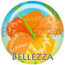 Cabochon verre, cabochon resine, hibiscus, exotique, tropical, été, vacances