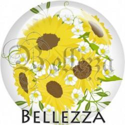 Cabochon verre, cabochon resine, fleur de tournesol, été, nature