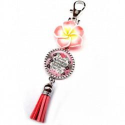 Bijoux de sac, portes clés, pompon, exotique, fleur, couleur rose, texte fashion