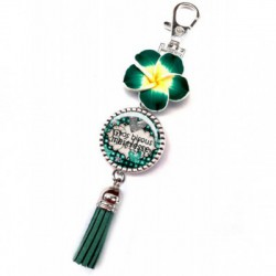 Bijoux de sac, portes clés, pompon, exotique, fleur, couleur vert forest, texte fashion