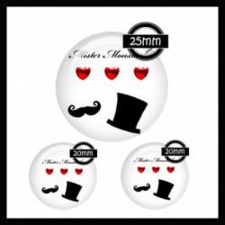 Parure 25MM-20mm VERRE, 3 Cabochons  en verre   Ref 8622Moustache,mister,homme,coeur,rouge et blanc,offrir,cadeau,création bijoux cabochons