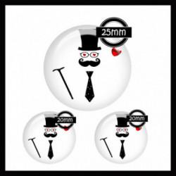 Parure 25MM-20mm VERRE, 3 Cabochons  en verre   Ref 8620Moustache,mister,homme,coeur,rouge et blanc,offrir,cadeau,création bijoux cabochons