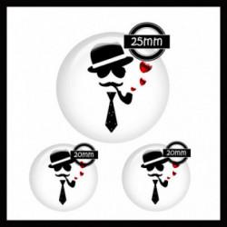 Parure 25MM-20mm VERRE, 3 Cabochons  en verre   Ref 8619Moustache,mister,homme,coeur,rouge et blanc,offrir,cadeau,création bijoux cabochons