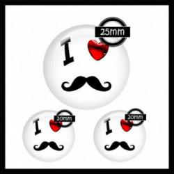 Parure 25MM-20mm VERRE, 3 Cabochons  en verre   Ref 8617Moustache,mister,homme,coeur,rouge et blanc,offrir,cadeau,création bijoux cabochons