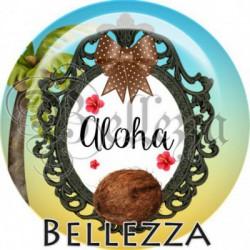 Cabochon verre, cabochon resine, vacances, été, exotique, flamant rose, coco, ananas