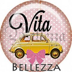 Cabochon verre, cabochon resine, Italie, retro, vintage, vacances, soleil, dolce vita, pays