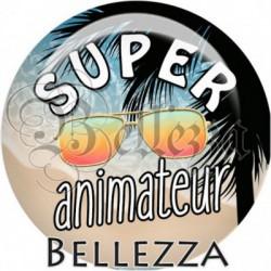 Cabochon verre, cabochon resine, super animateur, vacances, été, plage, mer
