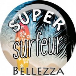 Cabochon verre, cabochon resine, super surfeur, vacances, été, plage, mer