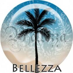 Cabochon verre, cabochon resine, plage, palmier, vacances, été, plage, mer