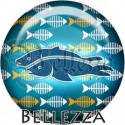 Cabochon verre, cabochon resine, poisson, marin ,mer, animaux