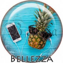 Cabochon verre, cabochon resine, ananas, vacances, soleil, plage ,mer, été, nautique